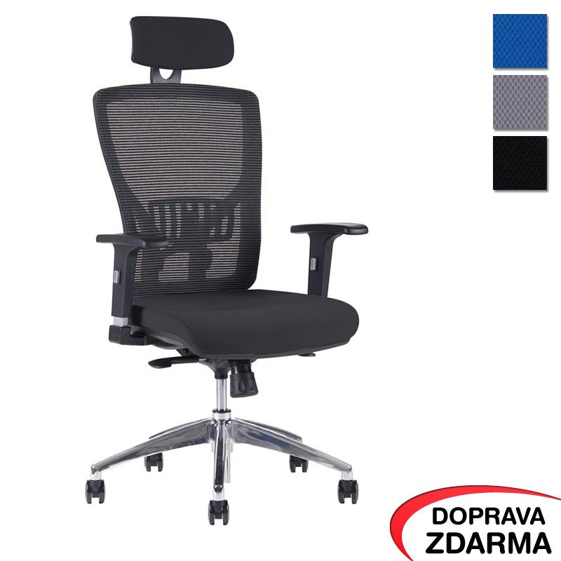 Židle Halia Mesh Chrom s podhlavníkem Černá