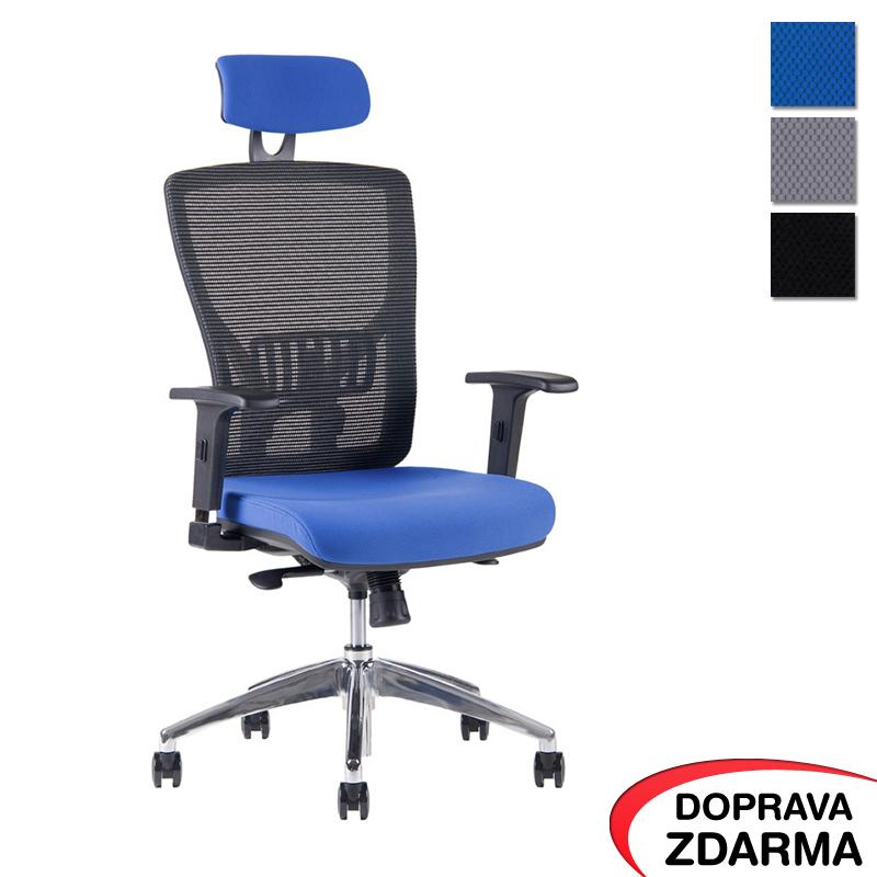 Židle Halia Mesh Chrom s podhlavníkem Modrá
